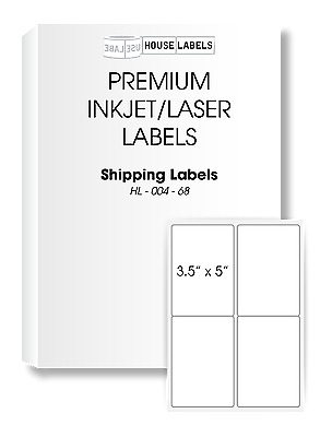 25 Sheets 100 Labels 3.5 x 5 4 UP FAST PEEL White Address Shipping Labels