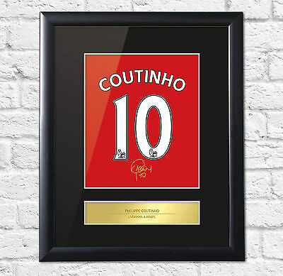 Philipe Coutinho Signed Mounted Photo Display Liverpool FC Framed