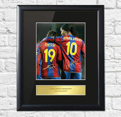 Lionel Messi & Ronaldinho Signed Mounted Photo Display Barcelona Framed