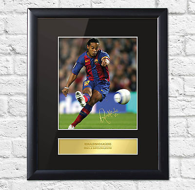 Ronaldinho Gaucho Signed Mounted Photo Display Barcelona Framed
