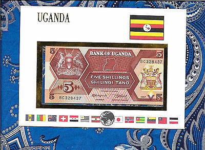 E Banknotes of All Nations Uganda 1987 5 shillings P27 UNC prefix BC