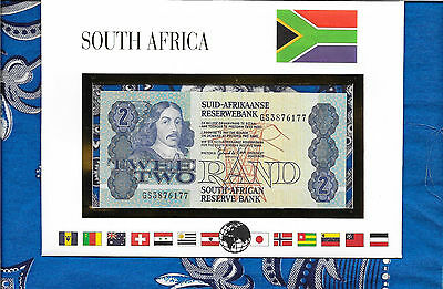 E Banknotes of All Nations South Africa 1983 - 1990  2 Rand  P118d UNC prefix GS