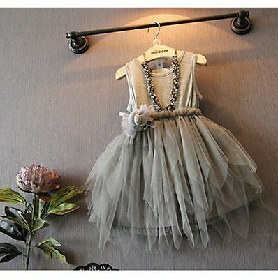 Flower Girl Kid Toddler Baby Princess Party Pageant Wedding Tulle Tutu Dress O8