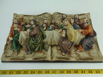 3D Last Supper on Bible Wall Hanging Picture Decoration Jesus Scene Book GS