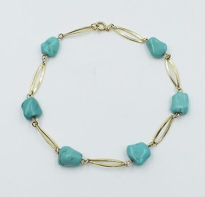 Handmade14k Yellow Gold And Natural Turquoise Nugget Link Bracelet