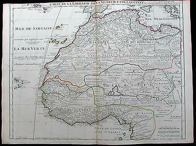 West Africa Guinea Senegal Sahara Gold Coast Gambia c.1707 de L'Isle old map