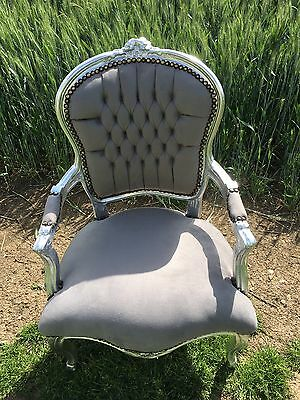 French Louis style Shabby Chic Grey Velvet Chair with Silver Frame