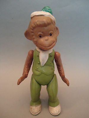 Old USSR Russian Very Rare GREEN Celluloid Monkey Doll Toy Figure 1950s