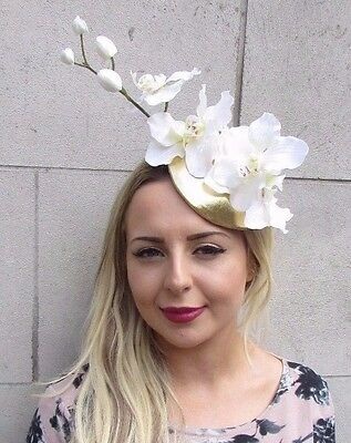 White Cream Gold Orchid Flower Fascinator Hat Pillbox Races Ascot Wedding 3112