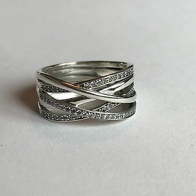 Genuine Sterling Silver 925 Entwine Silver band ring sizes 52, 54, 56