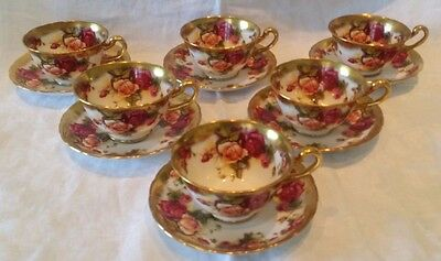 Royal Chelsea Bone China Golden Rose Six Cups and Saucers England