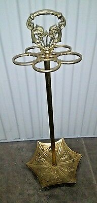 Vintage Ornate Brass Umbrella Stand Walking Stick Cane