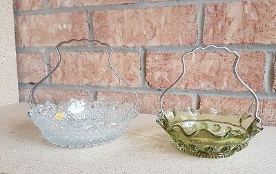Sowerbys Tynesdale Glass candy dishes vintage, antique, metal handles have mgd #