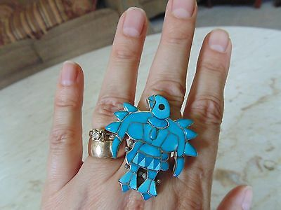 VTG 1980's ZUNI EAGLE DANCER RING BY MARY ANN PONCHO ~ STERLING & TURQUOISE SZ 7