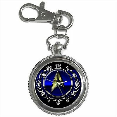 STAR TREK BADGE Silver Color Tone Key Chain Ring Watch Gift NEW D01