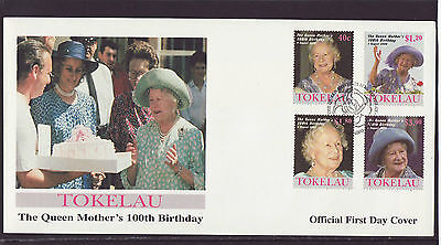 Tokelau 2000 FDC -The Queen Mother´s 100th Birthday - with set of 4 stamps