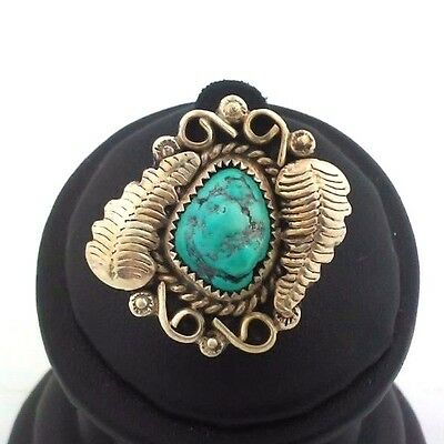 Handmade Native American Sterling Silver/Turquoise Leaf Ring size 6
