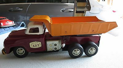 Vintage Tin A.d.t Automatic Dump Truck Made In Japan With Conveyor