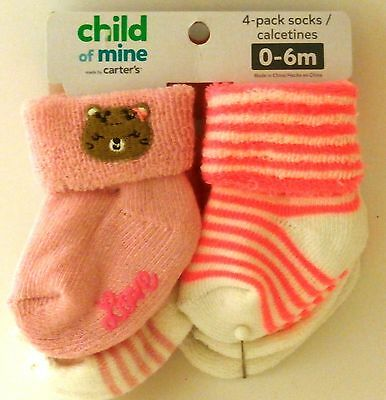 Child of Mine 4 pack Baby Girl Socks size 0-6 months NWT BABY SHOWER GIFT