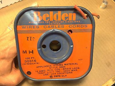NOS Vintage 1964 Belden RED Cloth-Covered Appliance Wire 16 AWG 30316 3004