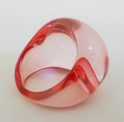 Vintage Transparent Pink Lucite Dome Ring Size 7-1/4