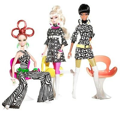 Barbie Collector Pivotal Mod 3 dolls  giftset Pop Life Gold Label  Mint
