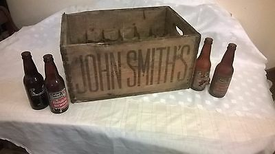 Original Vintage Wooden John Smith's Beer Crate with 4 of the Original Bottles