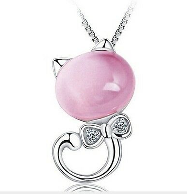 Sterling Silver Necklace Opal Stone Kitty Cat Bow Pendant Chain Gift Box Pink A3