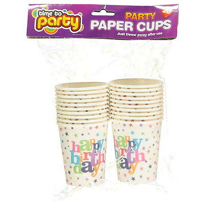 20 x Birthday Party Paper Cups Star Colour Table Solid Glass Kid Children NEW