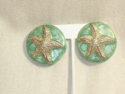 Vintage Large STARFISH Seafoam GREEN CLIP EARRINGS Round Heavy Silver tone