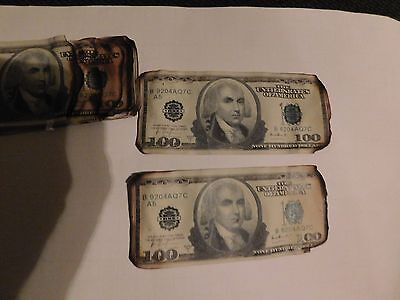 2-Dark knight burnt money screen used w COA Batman Joker movie prop bills Ledger