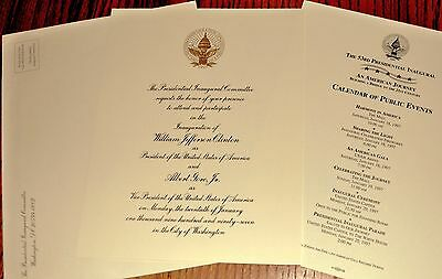 OFFICIAL CLINTON 1997 INAUGURAL INVITATION~ w/ ENVELOPE and CALENDAR OF EVENTS