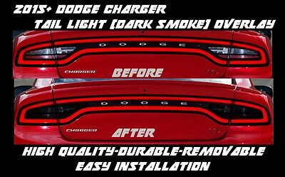 2015 2016 2017 Dodge Charger Tail Light Dark Smoke Overlay Tint smoked out s
