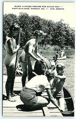 Postcard Girl Scouts Camp Oakledge Campers Prepare For Canoe Trip Warsaw MO R01