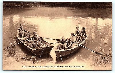 Postcard Girl Scouts Camp Redwing Allegheny County Ribold PA Vintage Linen R01