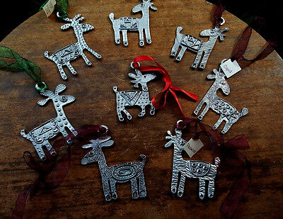 8pcs - The Tin Woodsman Pewter Santa's Reindeer Ornament Set 4in L x 2.5in W USA