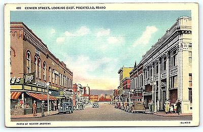 Postcard ID Pocatello Center Street Looking East Drug Stores Vintage Linen R20