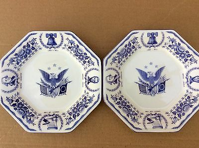 Midland Enterprises Freedom Forever Set Of Two Plates China Patriotic Porcelain