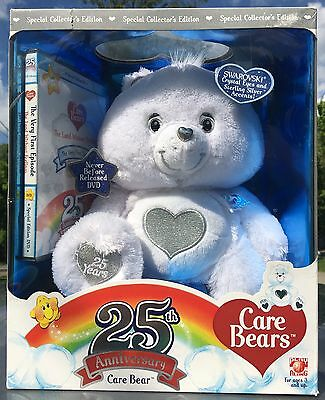 Care Bears 25th Anniversary White Tenderheart With DVD NEW