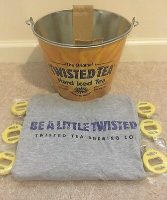 NEW Twisted Tea Ice Bucket, Bottle Openers and Large T Shirt. AWESOME SET.