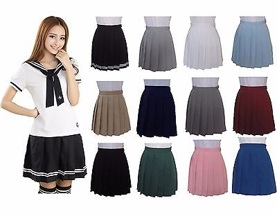 Girl Summer Box Pleat All Round Elasticated Skirt School Uniform Cosplay Skirts