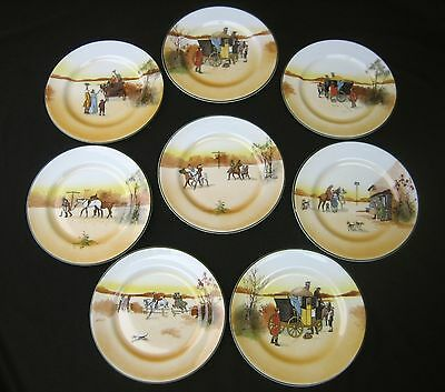 "Royal Doulton Coaching Days Set of Eight 7"" Dessert or Pie Plate Plates"