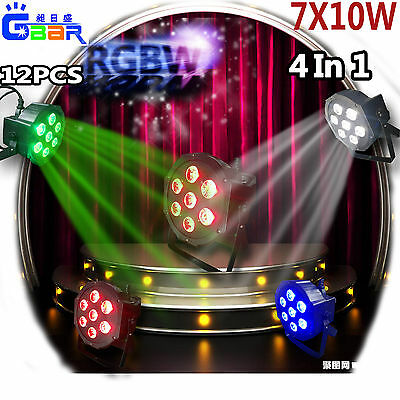 12PCS 5D 7X10W RGBW 4IN1 LED Par Light DMX 512 Can Flat PAR64 For KTV DJ Wedding