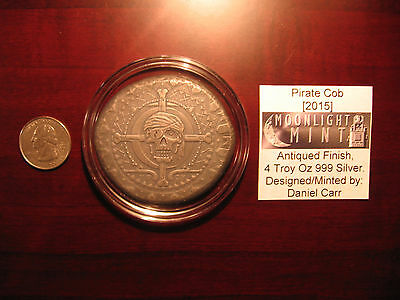 ONLY 49- RARE Oversized 4oz .999 silver 2015 Daniel Carr Pirate cob coin