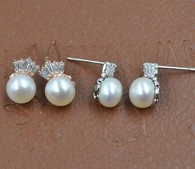 Stunning lots 10 Pairs 7-8mm Genuine Pearl studs earring free shipping