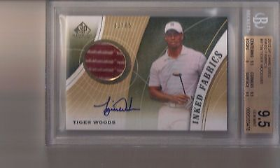 2012 SP Game Used Tiger Woods Inked Fabrics 2 Clr Shirt Auto BGS 9.5 10 #/65