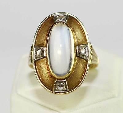 Ring & Ohrringe 585 Gold Diamant-Rosen Mondstein Set Gelbgold 585er ART DECO