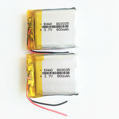 2 pcs 3.7V 800mAh Rechargeable Battery LiPo ion 803035 For mobile phone DVD GPS