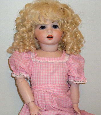 "SFBJ Paris #247 Antique Reproduction Doll 21"" All Bisque Dated 1983 Signed"