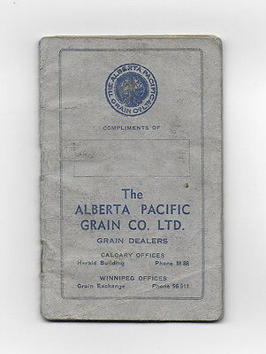 1942 FARMER'S RECORD BOOKLET ALBERTA PACIFIC GRAIN ELEVATOR CO. RARE used Canada